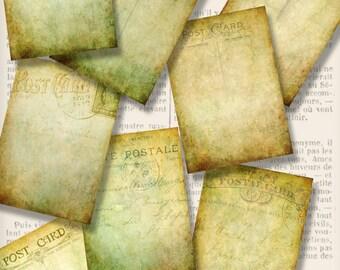 Grunge Postcards ATC cards background printable paper crafting crafts cards digital instant download printable collage sheet - VDATGR1342