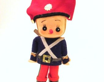 Vintage Felted Soldier Boy Christmas Ornament - Mid Century Japan
