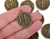 5 Bronze Coin Relic Charm Pendants, round coin charms, antiqued bronze plated metal, double sided design, 30x25mm, chb0466