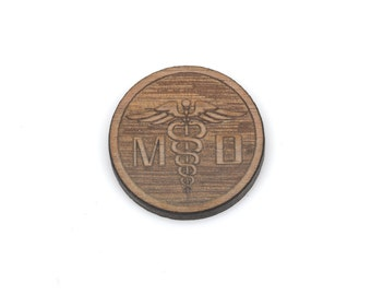 Set of 6 MD Doctor Symbol Charms, Caduceus Cabochon, Laser Cut Supplies, Laser Engraved Wood, Earring Gauge Plug, Sustainable Wood, lcw0097