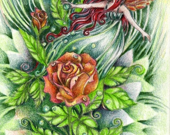 Tiny Gardener Faerie Art Print, Fantasy Fairy Art