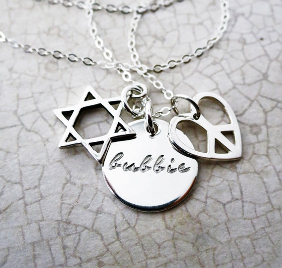 Bubbie Charm Necklace - Sterling Silver Bubbe Jewelry - Gift for Grandma - Star of David - Jewish Woman - Bubbie Jewelry - Hand Stamped