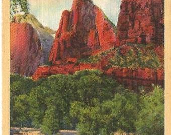 The Three Patirarchs, Zion National Park, Utah Linen Post card Vintage Postcard