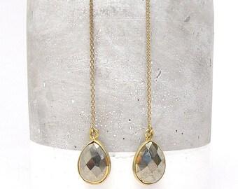 Gold Gemstone Threader Earrings - Earring Threader - Earring Threads