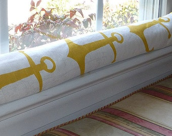 Door Draft Stopper Yellow, Anchors Window Draft Stopper, Nautical Draft Stopper,
