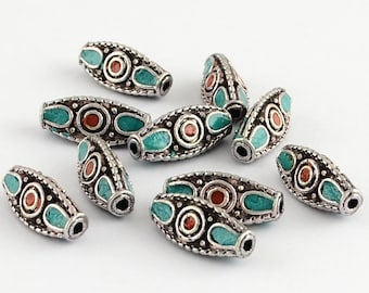 Turquoise Antique Silver Metal Triangle Handmade Indonesia Beads -5