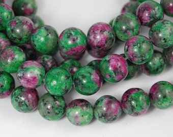 10mm Ruby in Zoisite Beads Beads, Opaque Green and Purple round -14.5 inch strand