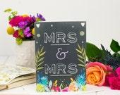 Mrs And Mrs Card - Wedding Card - Chalkboard Card - Same Sex Wedding - Card For Marriage - Congratulations Card - Civil Partnership Card