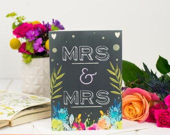 Mrs And Mrs Card - Wedding Card - Chalkboard Card - Same Sex Wedding - Card For Marriage - Congratulations Card - Civil Partnership Card
