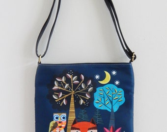 Fox in the forest, digitally printed fabric and black leather , sling bag