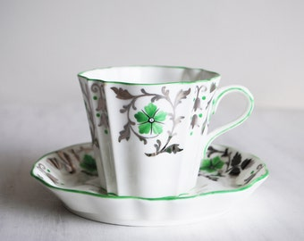 Wedgwood Teacup and Saucer / Green and Silver Flowers / Vintage Tea Cup