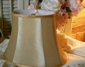 Pink Silk Lamp Shade With Pink Bias Ribbon Trim Shabby Chic Cottage Decor Oval Silk Pink  Cottage Decor Vintage Pink Shade