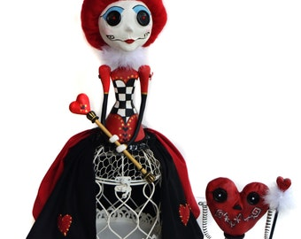 Red Queen - Queen Of Hearts - Alice In Wonderland - Tim Burton Inspired - Button Eyed Doll