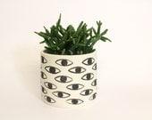 Sale - Eye-Pot - vase - ceramic cache pot / container - unglazed