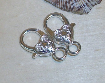 6 Large Silver Heart Lobster clasp-silver plated- 26 x 13.5 mm- (6 pieces)