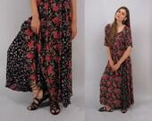 Vintage 90s Floral Maxi Dress, Gauze Dress, Boho Dress, Floral Gauze Dress, Boho Floral Dress Δ fits sizes: xs / sm / md