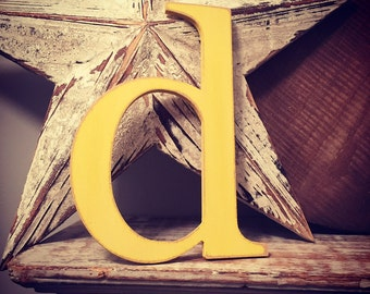 Wooden Wall Letter - Distressed - 'd' - New Times Roman - large lowercase, approx 10.5 inch high, various colours and finishes available