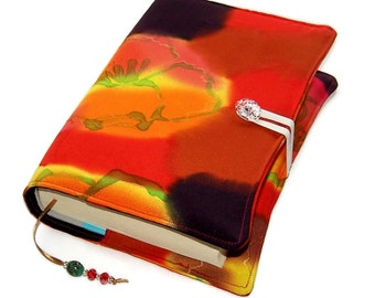 Handmade Book Cover, Fabric Bible Cover, Vintage Kimono Silk, Hand Painted Poppies - Design A, UK Seller