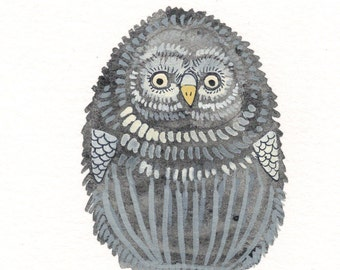 "Owl Art - Original Watercolor Painting Bird Art - Grey Owl Wall Art - Owl Nursery Art - 3""x4"""
