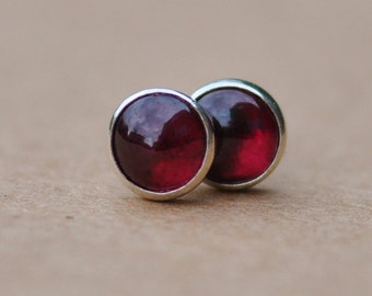 Garnet Earrings with Sterling Silver Studs. 5mm Garnet gemstones with silver settings