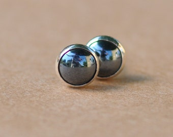 Hematite Earrings handmade with Sterling Silver studs, 6mm natural grey gemstone and silver earrings. charcoal, sophisticated and stylish