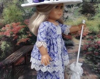 Edwardian gown with hat and parasol for American Girl or similar 18 inch doll.