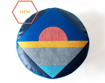 Sunrise, geometric patchwork pouffe