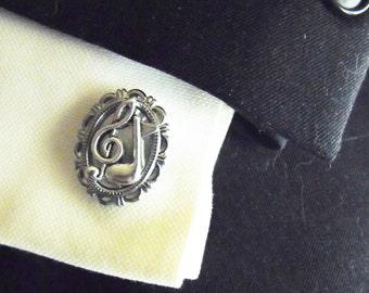 Mens Silver Cufflinks,  Music Note   Mens Accessories  Handmade