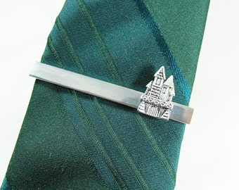Tie Bar Tie Clip,  Mens Silver Castle,  Video Game Tie Bar,  Mens Accessories  Handmade