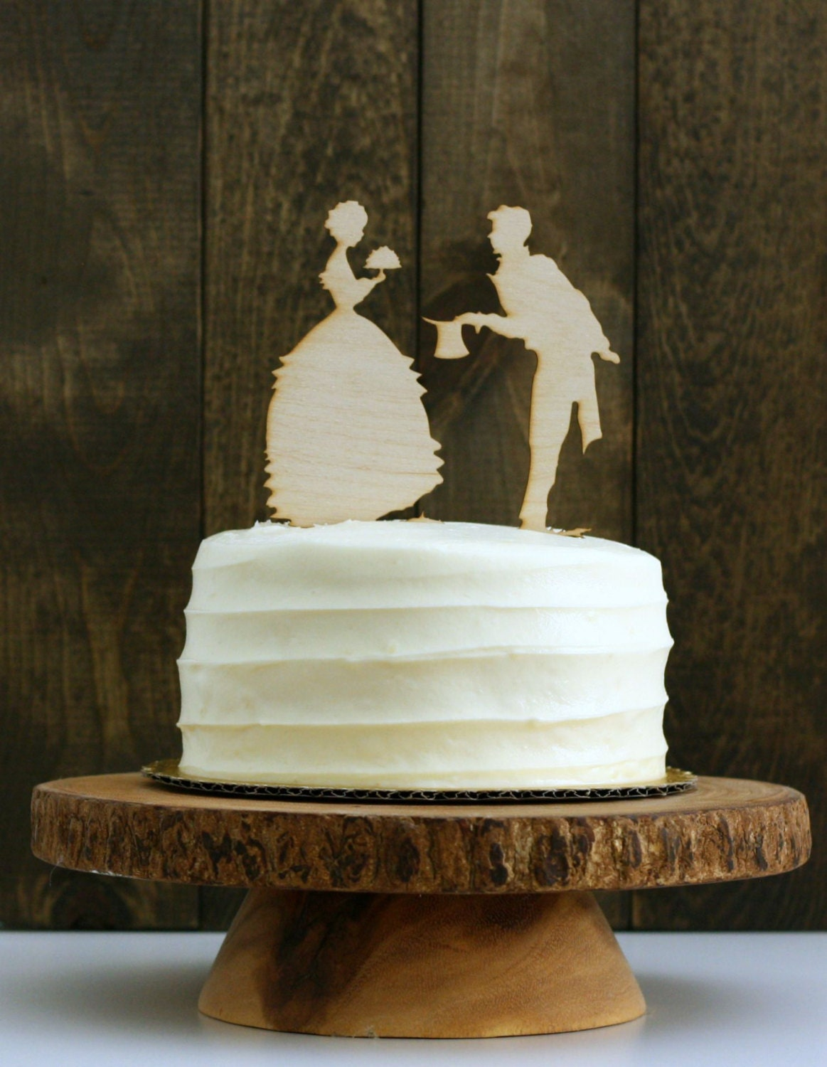 Rustic Silhouette Wedding Cake Topper Vintage Silhouette