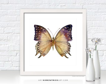 Tan Butterfly Painting, Butterfly Wall Art, Butterfly Print, Original Butterfly Watercolor, Butterfly Greeting Cards, 63 Great Nawab