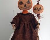 Halloween Dolls Halloween Decor Halloween Pumpkin One of a Kind Art & Collectibles Whimsical Soft Sculpture by Artfullyhandcrafted