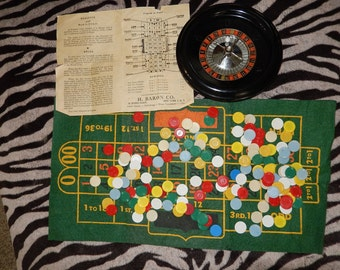 ROULETTE Gambling Game-Vintage ROULETTE cloth-chips-wheel-mid century Club Roulette-wheel chips-betting cloth-game night fun-casino game