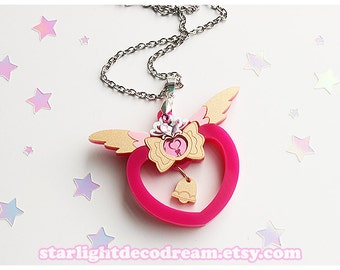 Upgraded Tokyo Mew Mew Inspired Strawberry Bell Bell Acrylic Necklace, Phone Strap, or Keychain for Mahou Kei, Magical Girl Fashion