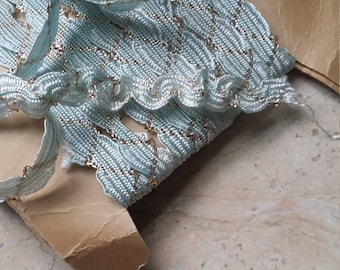 """1/2"""" Vintage French Wavy Scalloped edges Middy Braid Trim Ribbon Palest aqua blue, Metallic Gold accent Doll, sewing supplies"""