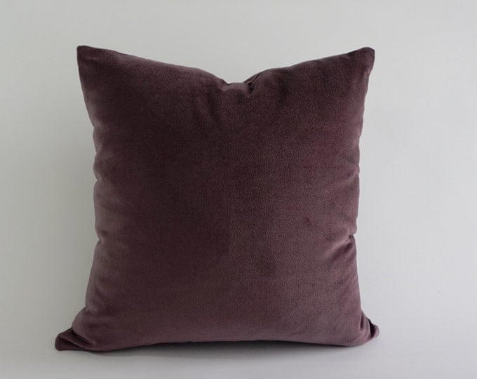 English Lavender Cotton Velvet Pillow Cover- Decorative Accent Throw Pillows -Invisible Zipper Closure -Knife Or Piping Edge -16x16 to 26x26