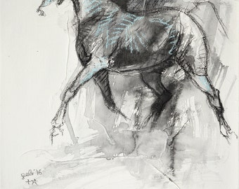 Trot Horse, Animal, Modern Original Fine Art, Watercolor and Black Chalk Painting of Horse