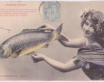 Written on (!) Antique French Postcard -- mailed in 1905