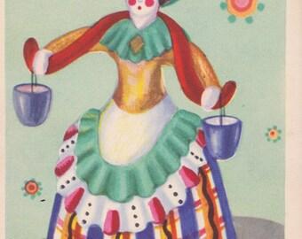"""N. Obrucheva """"Dymkovo Toy"""" Postcard -- 1959"""
