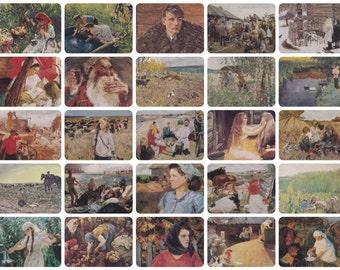 A. Plastov. Collection / Set of 25 Vintage Prints, Postcards -- 1950s-1980s