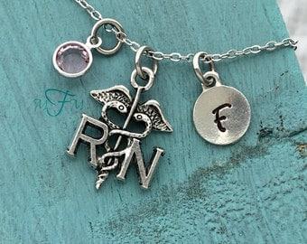 RN Nurse Charm Necklace, Personalized Necklace, Silver Pewter RN Nurse Charm, Custom Necklace, Swarovski Crystal birthstone, monogram