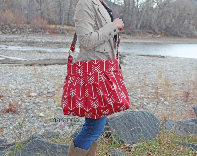 Stella Diaper Bag - Large - Red Arrows -Archery Arrow Nappy Bag Stroller Attachment