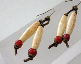 Hair Pipe Bone Earrings Boho Style Native American with Red Vaseline Glass Beads Native Tribal Bone Leather Dangle earrings FREE US SHIP
