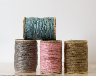 Jute Twine on Rustic Wooden Spool - Natural Brown / Pink / Blue / Pewter Gray - 200 feet (66.67 yards)