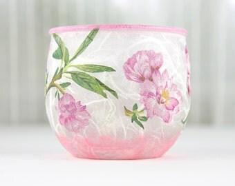 Glass Tea Light Holder, Cherry Blossom Design, Glass Candle Holder, Tea Light Holder, Glass Home Decoration, Cherry Blossom Candle Holder