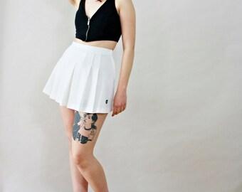 White 60s Flirty Tennis Skirt