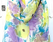 Bird Scarf, Hummingbird Scarf, Silk Scarf Handpainted, Yellow, Purple Wildflowers & Hummingbird, 11x60 inch, Made to order