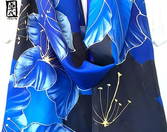 Hand Painted Silk Scarf, Blue Silk Scarf, Large Reversible Scarf, Blue and Black Scarf, Lilies Kimono Scarf, 14x72 inches, Made to order