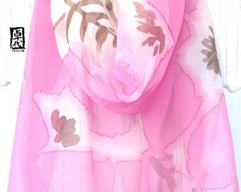 Hand painted silk scarf, Pink Silk Scarf, Gift for her, Floral Scarf, Pastel Pink Peonies Scarf, Silk Scarves Takuyo, 11x60 inches.