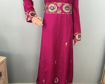 1970s Prairie Chic Magenta Maxi Dress